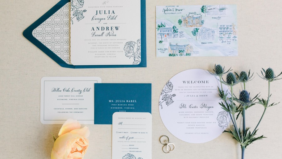 Timeless Navy Invitations