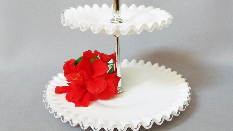 Fenton Two-Tier Tidbit Serving Tray