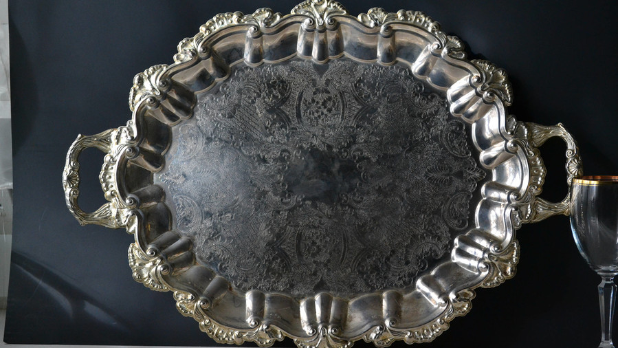 Large Silver Plate Footed Serving Tray