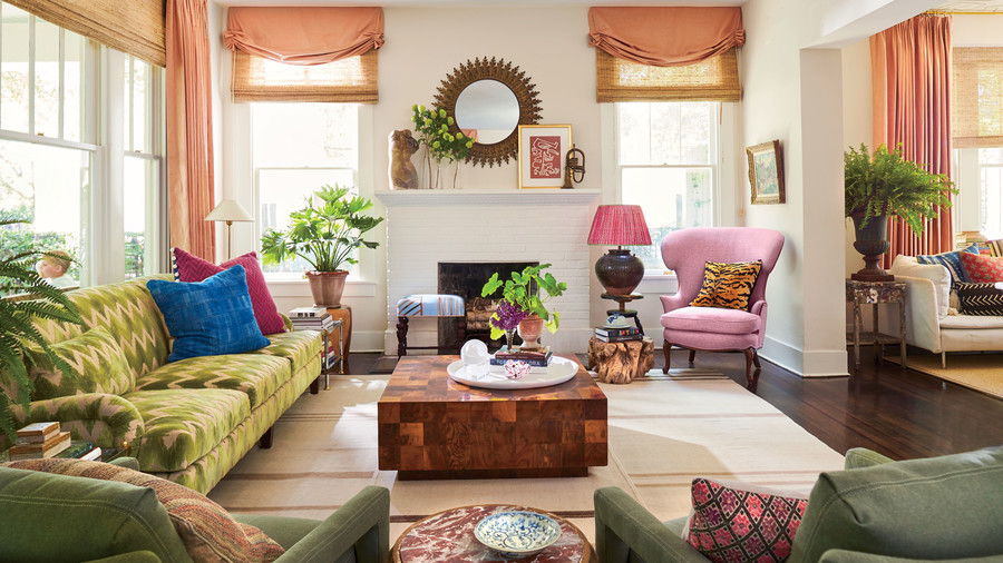 Meg Lonergan Houston Craftsman Living Room with Green Accents