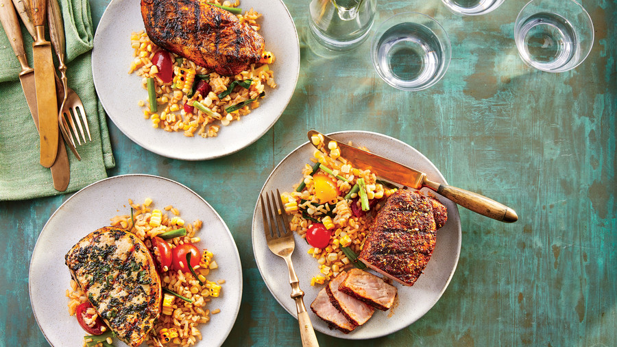 Grilled Spice-Rubbed Pork Chops with Scallion-Lime Rice