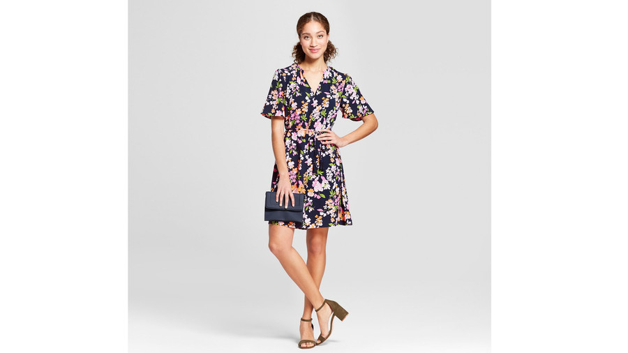 A New Day Floral Print Short Sleeve Tie Waist Crepe Dress