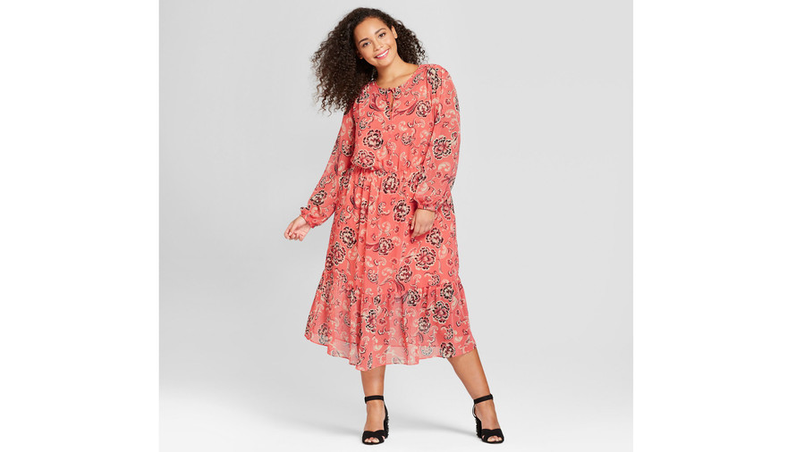 Who What Wear Plus Size Flowy Maxi in Pink Floral