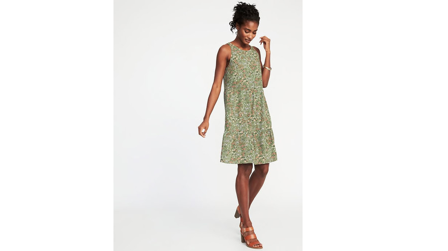 Sleeveless Tiered Swing Dress In Olive Combo