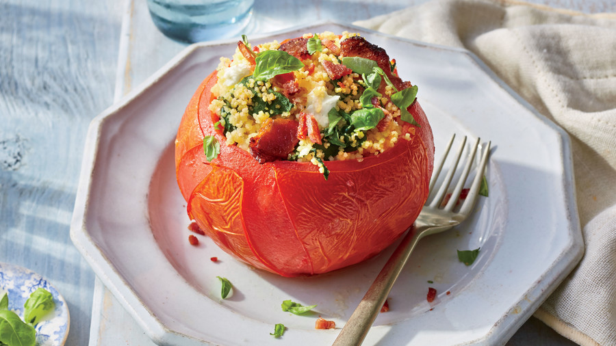 Bacon-Spinach-and-Couscous Stuffed Tomatoes