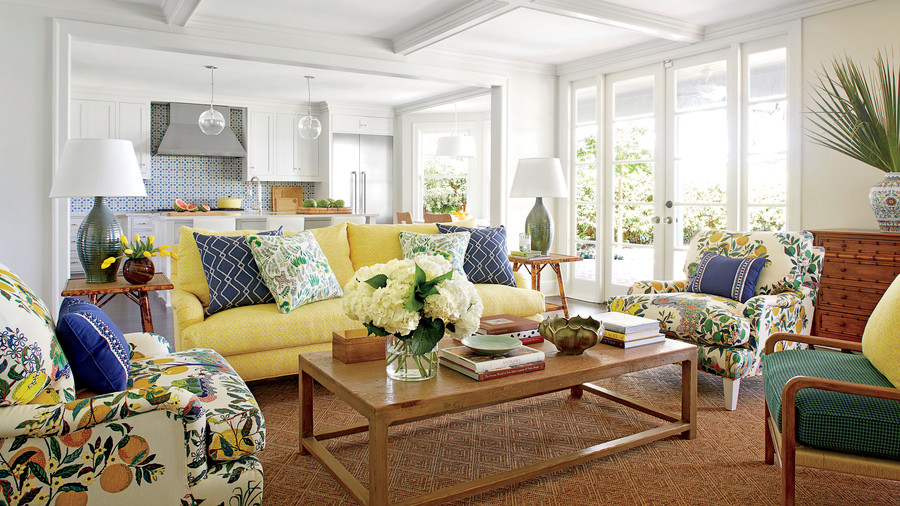 The Family Room. Andrew Howard Colorful Makeover Yellow And Blue Living Room