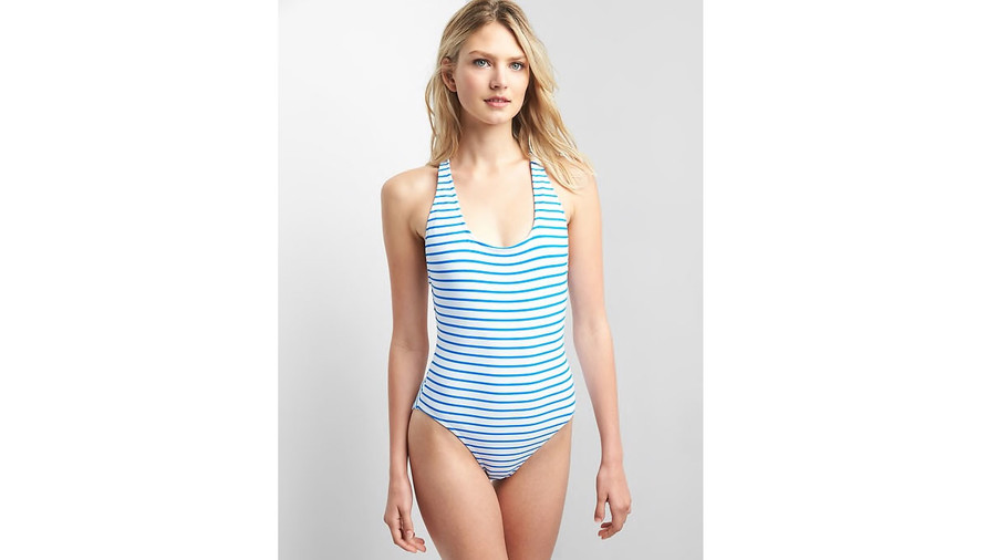 Stripe One-Piece Suit in Blue and White