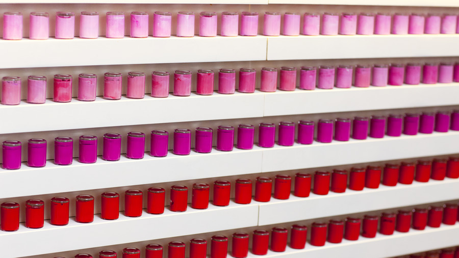 Pink and Red Nail Polish Bottles