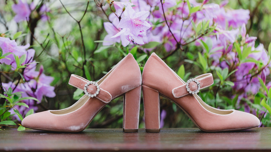 Pink Bridal Shoes with Buckle