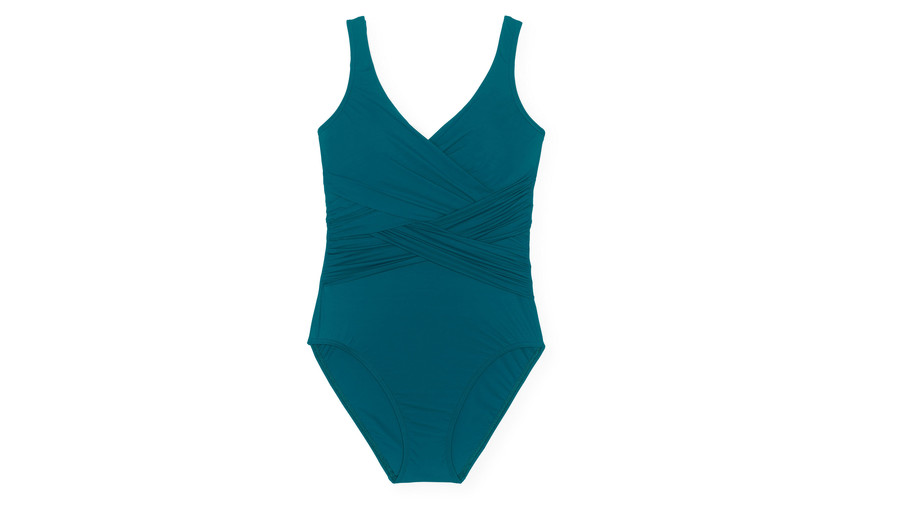9584536092 Women s Slender Wrap One Piece Swimsuit in Teal Blue