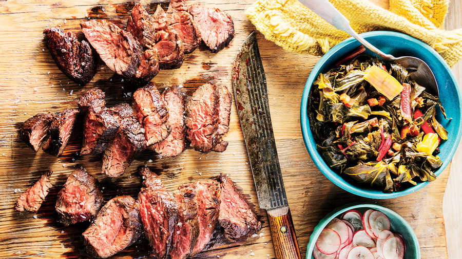 Seared Hanger Steak with Braised Greens and Grapes