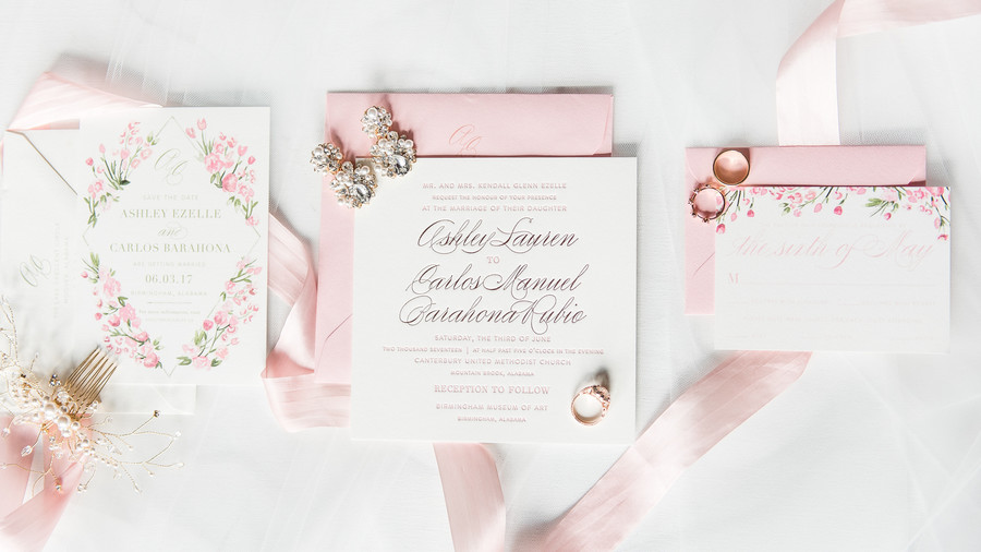Pink Tulips Wedding Flower Watercolor Invitation