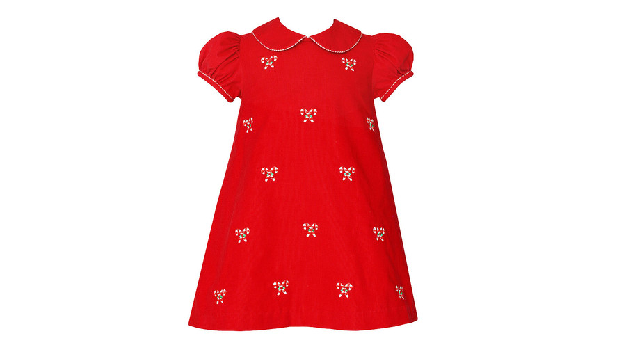 Anavini Girls Red Corduroy Float Dress