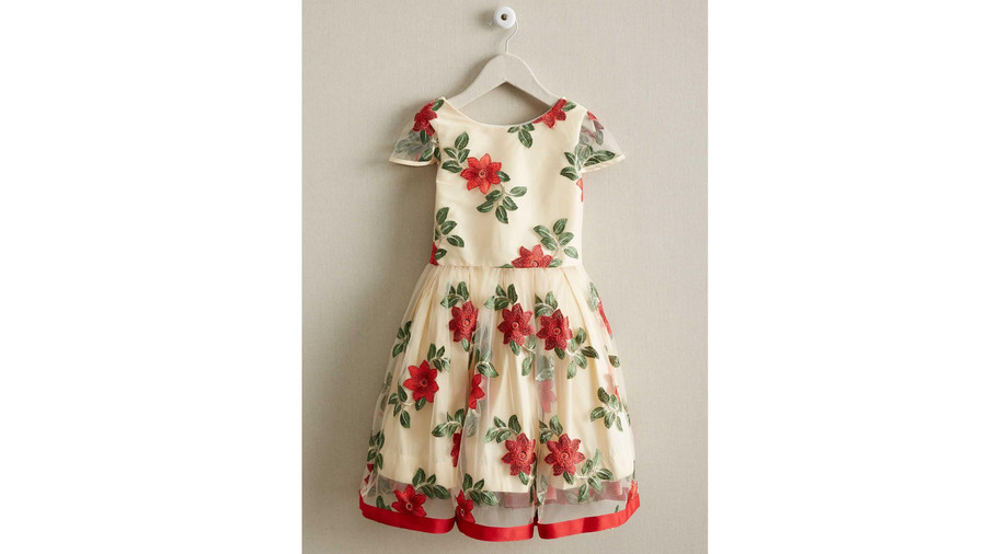 Girls Poinsettia Dress