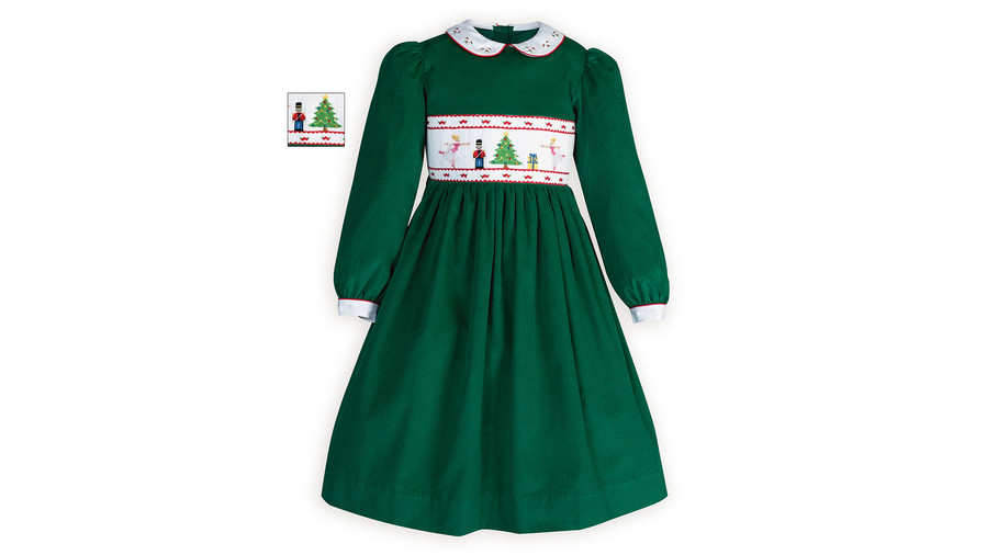 Green Smocked Nutcracker Suite Dress