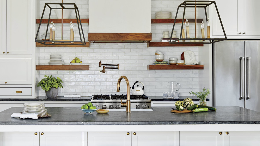 White Kitchen with Dark Soapstone Countertops
