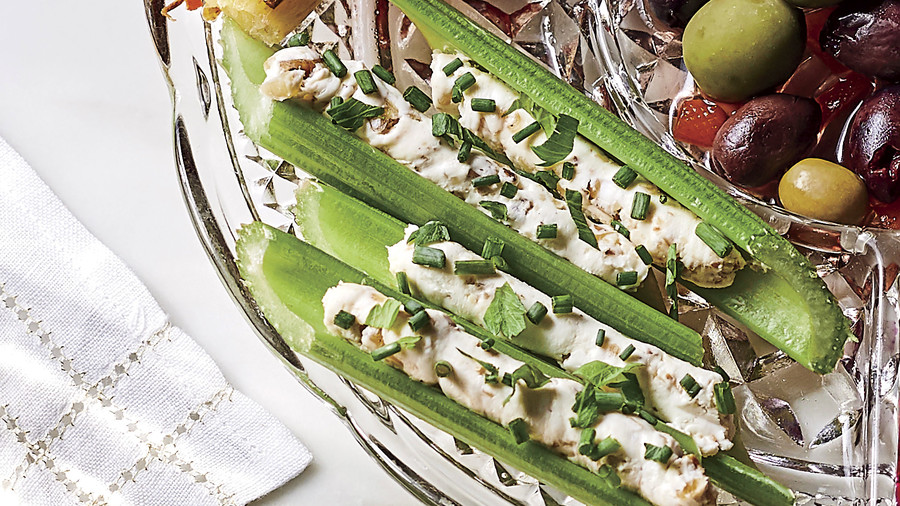 Cream Cheese-and-Walnut Stuffed Celery