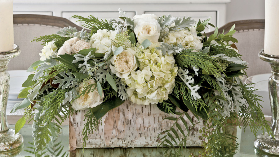 Birch Log with White Flowers for a Christmas Centerpiece