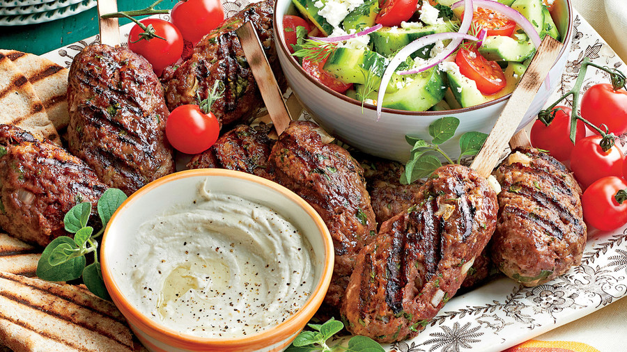 Spiced Beef Kabobs with Herbed Cucumber and Tomato Salad Recipe