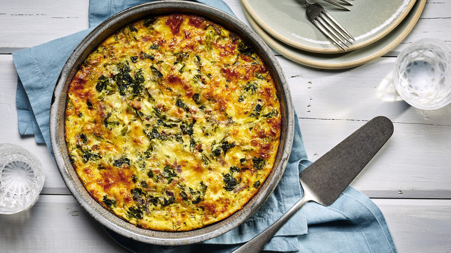 Crustless Ham and Spinach Quiche