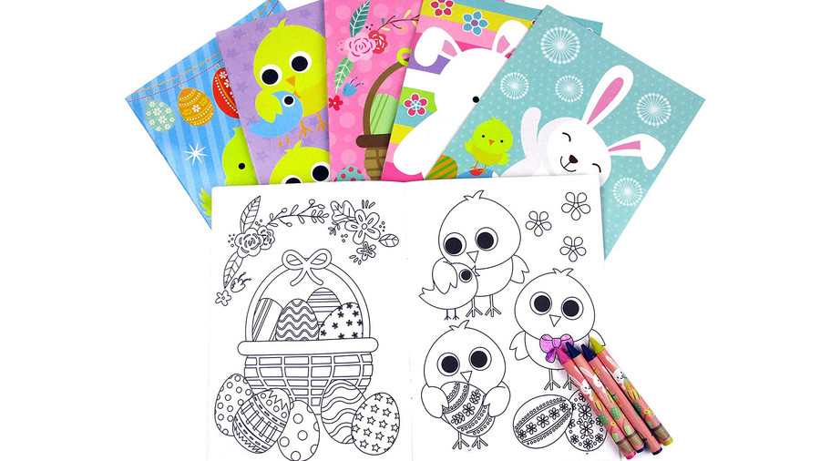 Easter Coloring Books with Crayons, Set of 12