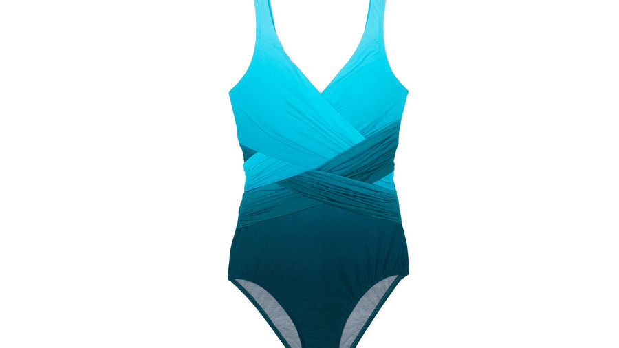 Women's Slender Wrap One Piece Swimsuit in Teal Blue