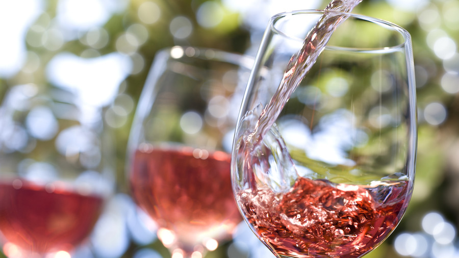 Rose Wine Being Poured