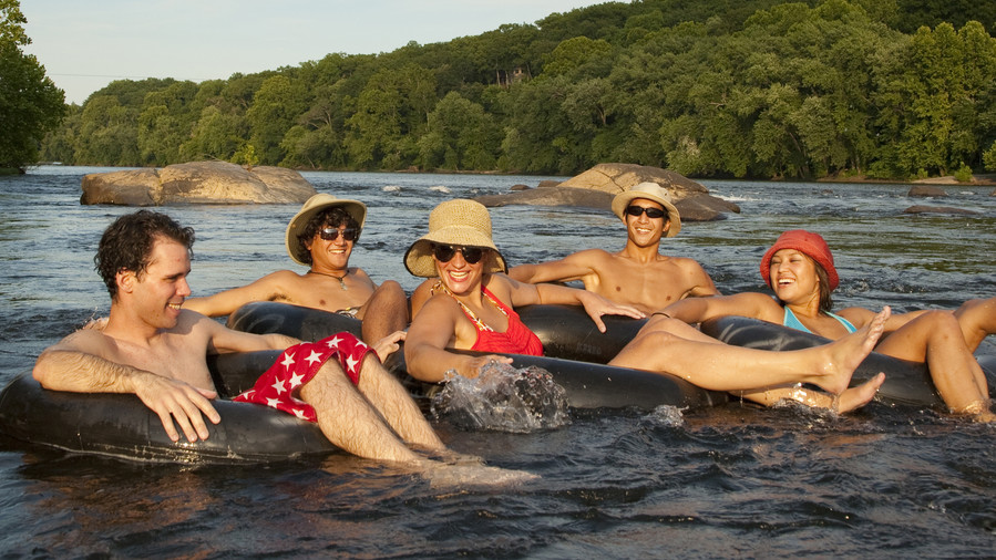 People Tubing Down the James River in Richmond, VA