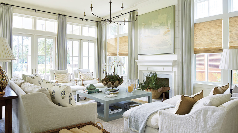 Maison Studio WaterColor, FL Living Room with Neutral Tones and High Ceilings