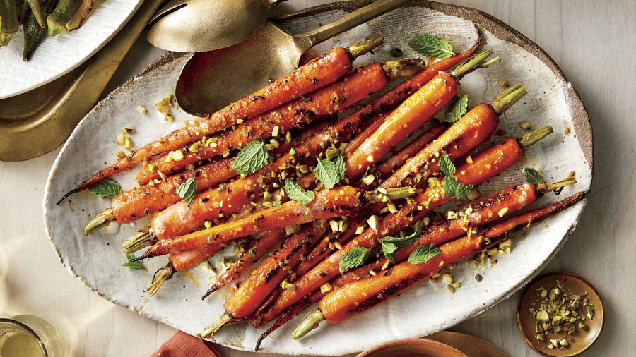 Gingery Carrots with Pistachios and Coconut-Buttermilk Sauce