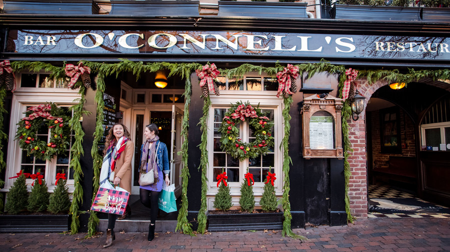 Old Town Alexandria, VA Women Exiting O'Connell's Bar and Restaurant