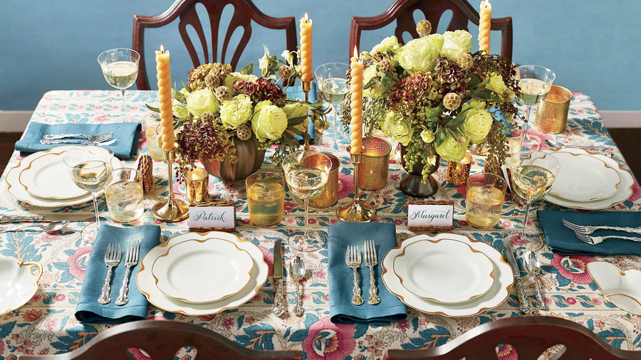 White and Gold China on Teal and Rose Table Cloth for Thanksgiving