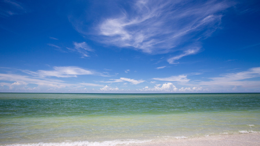 Beach scene at Keewaydin island, Florida. Just south of Naples. Blue skies with cirrus clouds and greenish Gulf of Mexico.