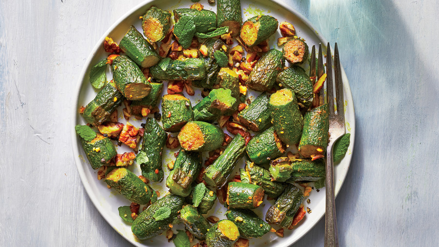 Sautéed Baby Zucchini with Pecans and Mint