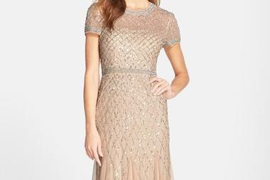 Chiffon and Sequin Crewneck Gown