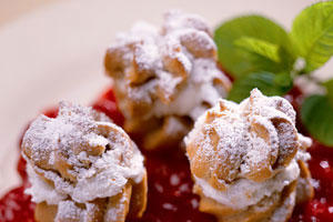 Pumpkin-Spiced Profiteroles With Warm Cranberry Compote