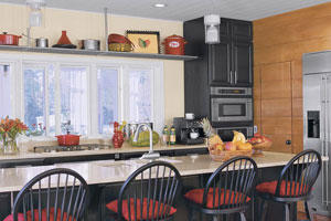 Black and red kitchen