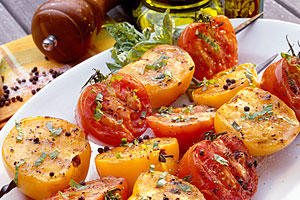 Grilled Tomatoes with Basil Vinaigrette Recipe