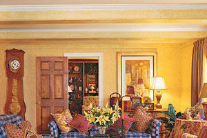 bright yellow walls liven up and compliment blue and white checkered couches and chairs in the living room