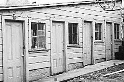exterior of a rundown shed