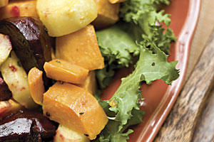 Thanksgiving Dinner Side Dishes: Roasted Root Vegetables With Horseradish Vinaigrette Recipe