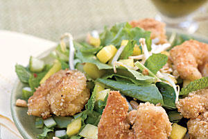 Spring Salad Recipes: Peanut Shrimp Salad With Basil-Lime Dressing