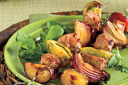 Molasses-Balsamic Pork Kabobs With Green Tomatoes and Plums