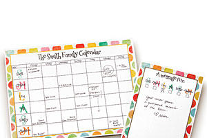 Family Calendar and Message Notepad