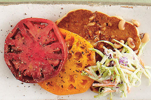 Black-eyed Pea Cakes with Heirloom Tomatoes and Slaw