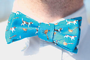Blue Bird Dog Bow Tie