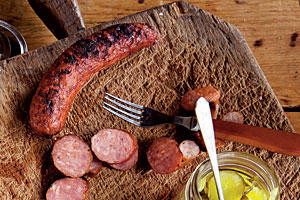 Grilled Andouille Sausage with Pickles
