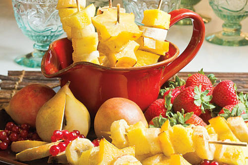 Skewered Fruit with Rum Drizzle
