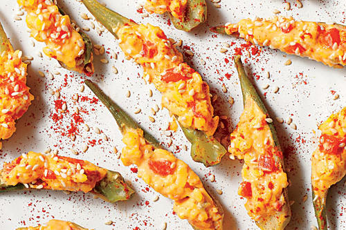 Pimiento Cheese-Stuffed Pickled Okra