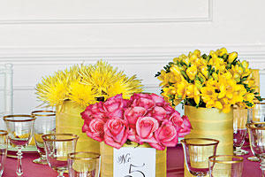 Charming Pink and Yellow Centerpiece